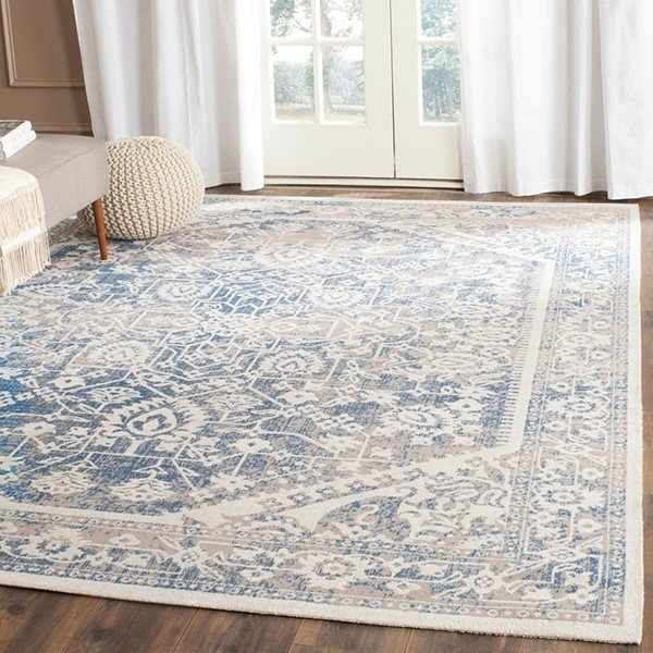Grey, Blue (A) Traditional / Oriental Area Rug