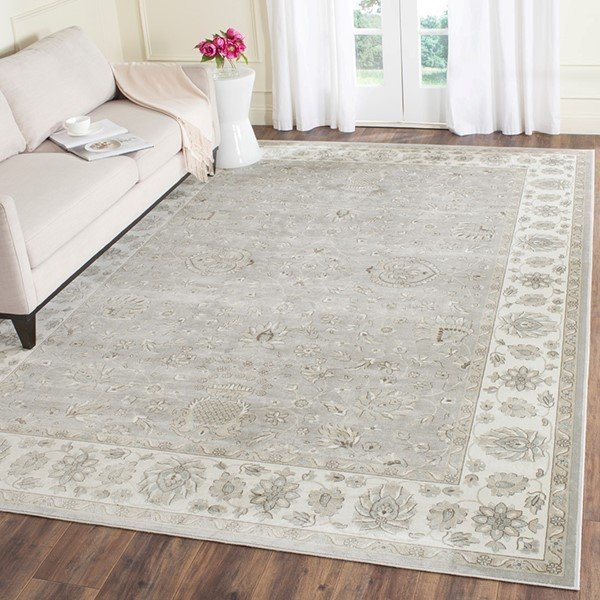 Silver, Ivory (W) Traditional / Oriental Area Rug