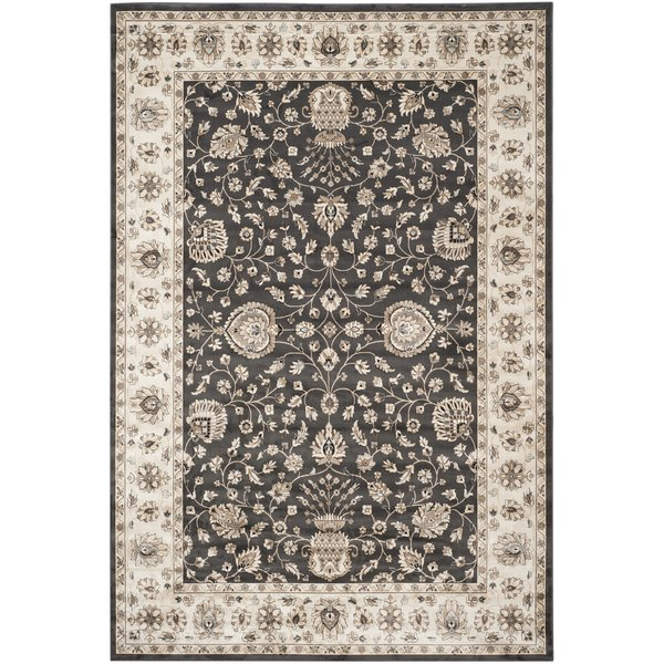 Anthracite, Ivory (E) Traditional / Oriental Area Rug