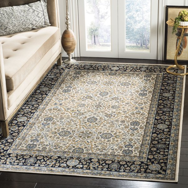Ivory, Navy (S) Traditional / Oriental Area-Rugs