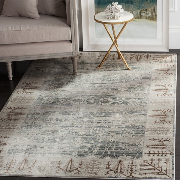 Dark Grey, Light Grey (C) Traditional / Oriental Area Rug