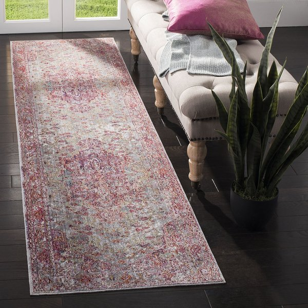 Grey, Red (Q) Vintage / Overdyed Area Rug