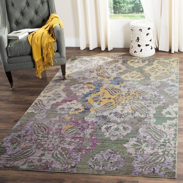 Grey, Yellow, Purple (K) Contemporary / Modern Area Rug