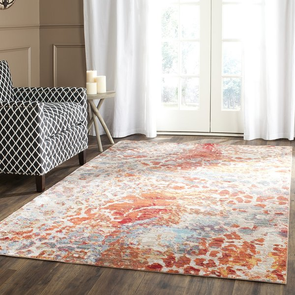 Orange, Blue, Taupe (K) Abstract Area Rug