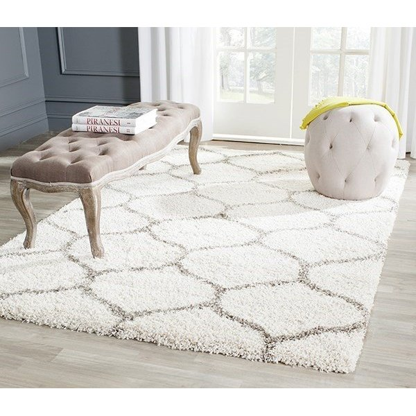 Ivory, Grey (A) Contemporary / Modern Area Rug