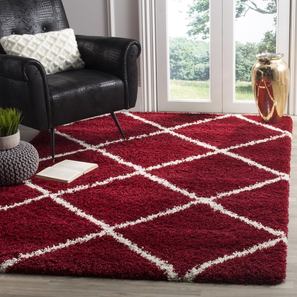 Red, Ivory (R) Shag Area Rug