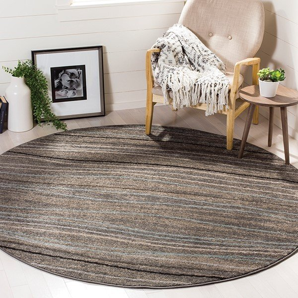 Silver, Beige (G) Striped Area Rug