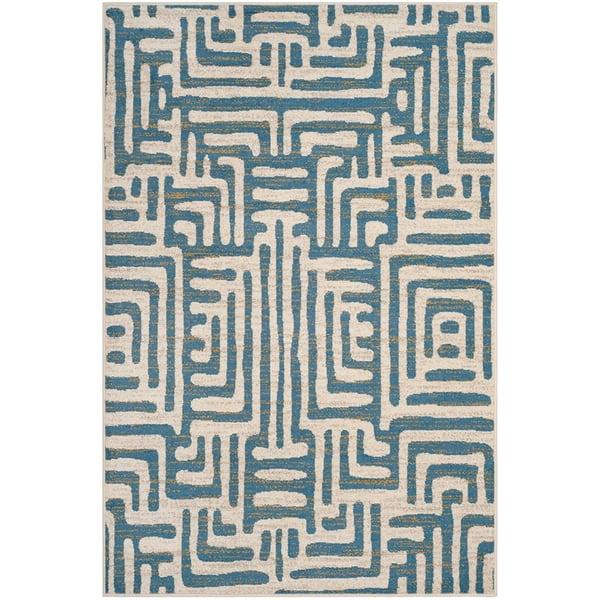 Ivory, Light Blue (C) Contemporary / Modern Area-Rugs