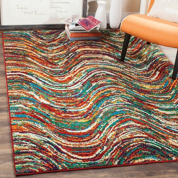 Red, Yellow, Green Contemporary / Modern Area Rug