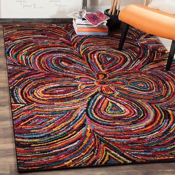 Red, Yellow, Blue Contemporary / Modern Area Rug