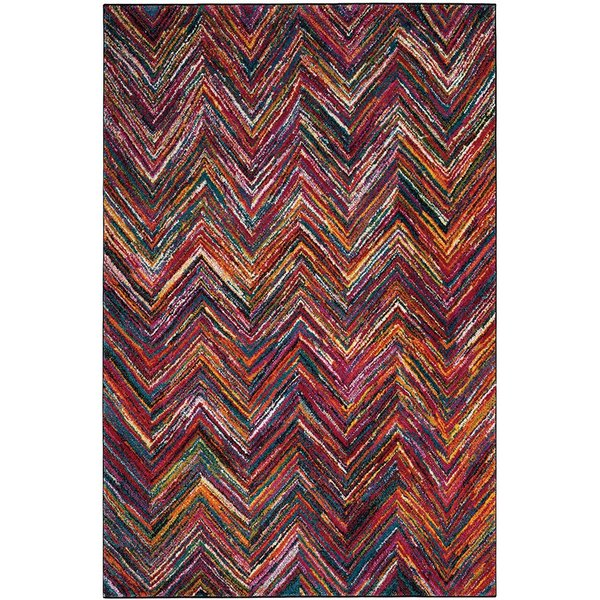 Red, White, Purple Contemporary / Modern Area Rug