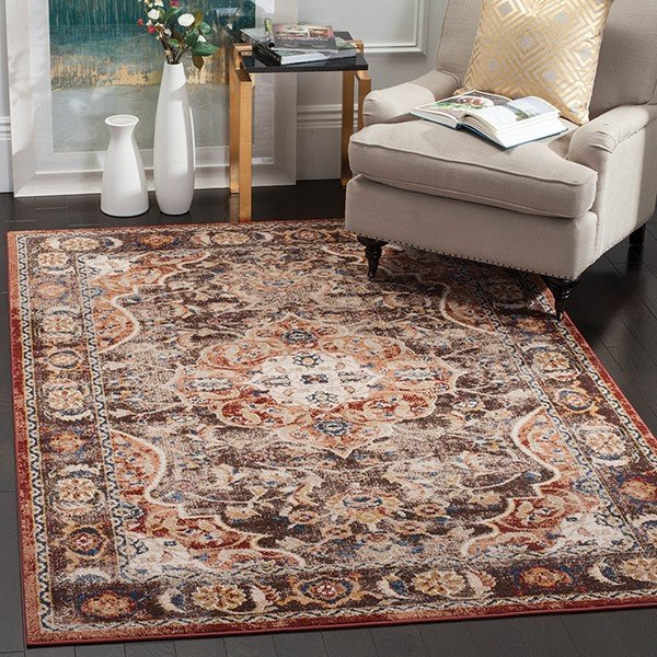 Brown, Rust (D) Traditional / Oriental Area Rug