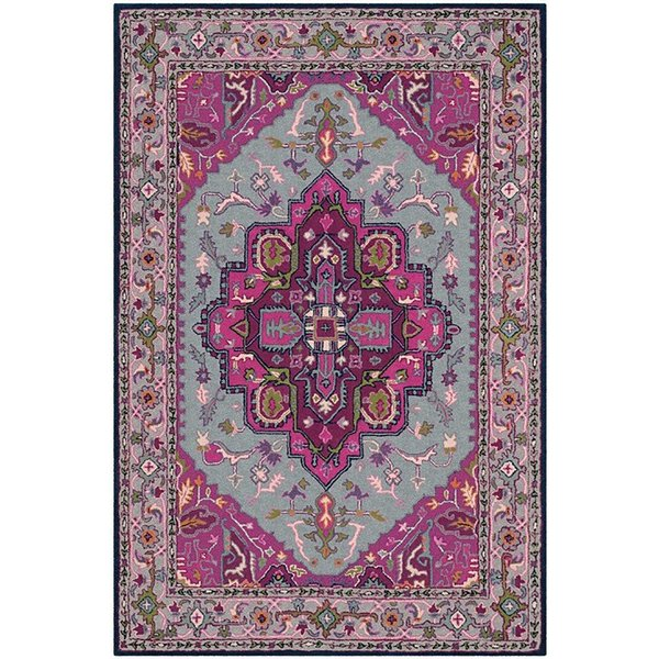Grey, Pink (B) Traditional / Oriental Area-Rugs