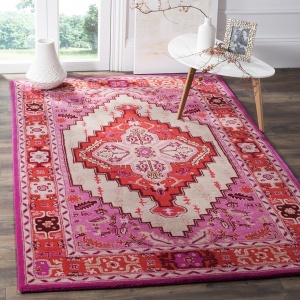 Red-Pink, Ivory (A) Traditional / Oriental Area Rug