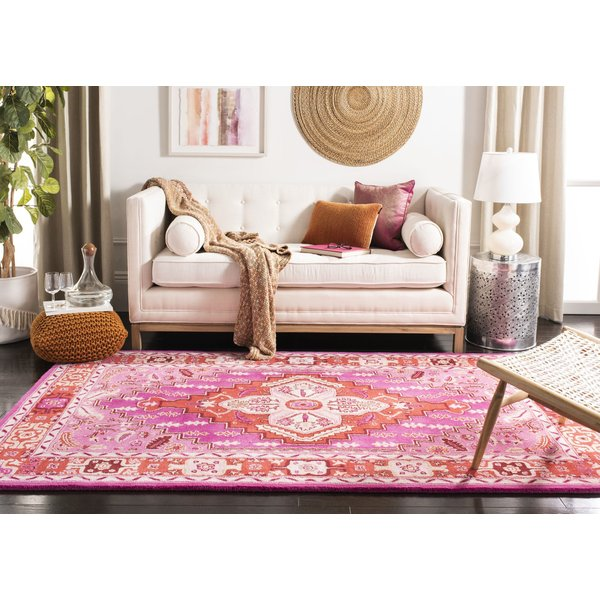 Red, Pink (B) Traditional / Oriental Area Rug