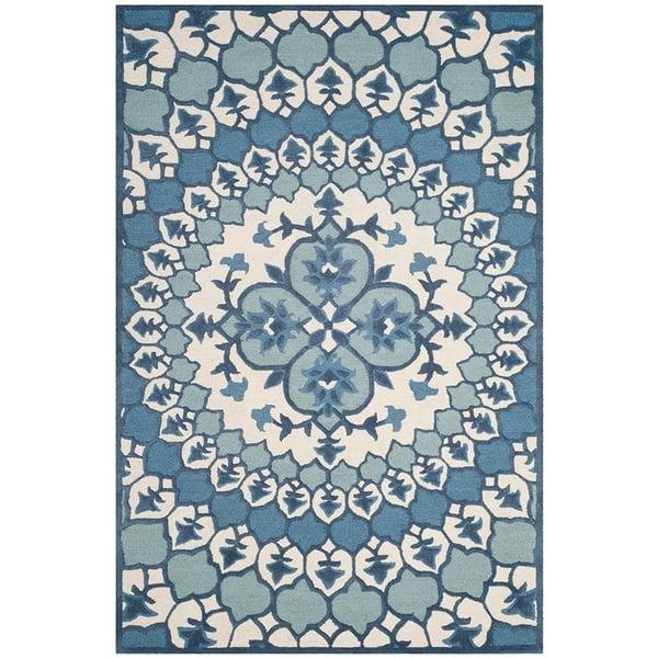 Ivory, Blue (G) Contemporary / Modern Area Rug