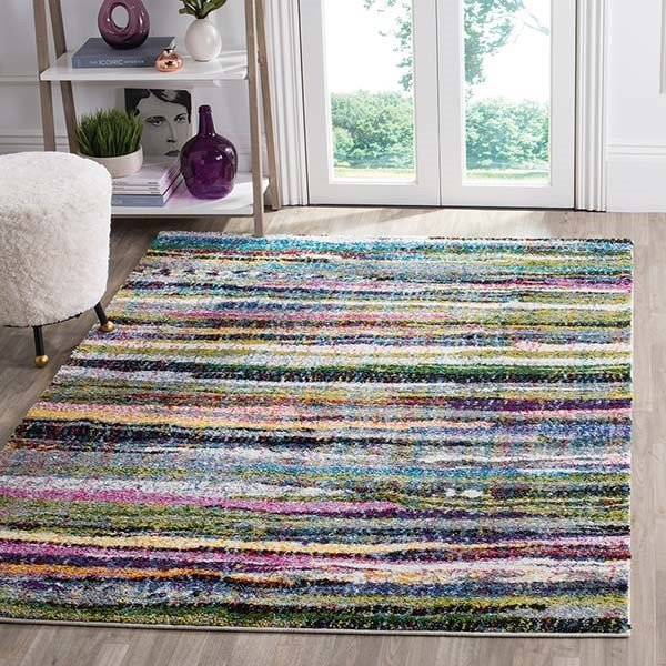 Blue, Green, Yellow (M) Shag Area Rug