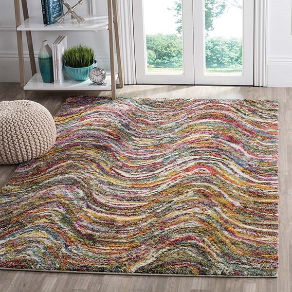 Red, Yellow (M) Shag Area Rug