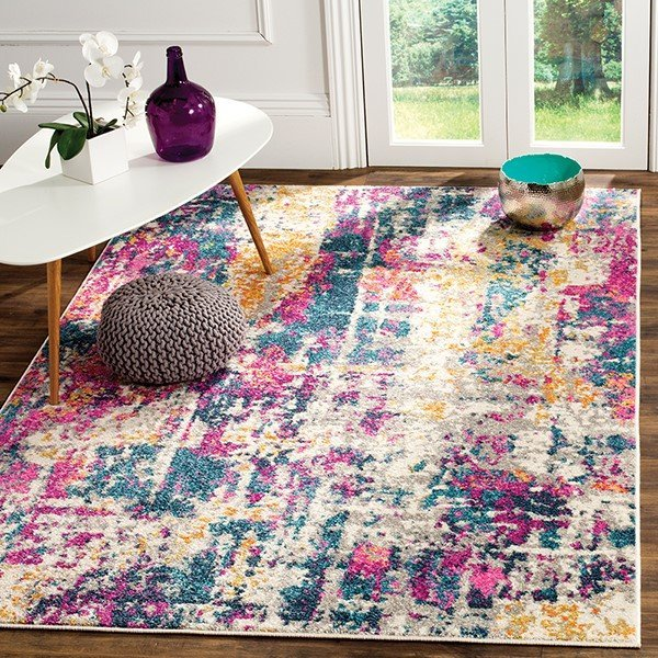 Ivory, Blue (B) Abstract Area Rug