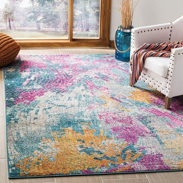 Blue (M) Abstract Area Rug
