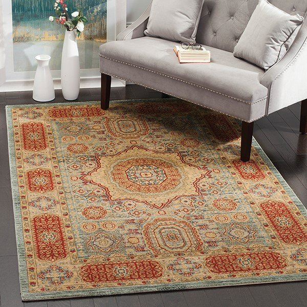 Light Blue, Grey, Navy, Red (C) Traditional / Oriental Area Rug