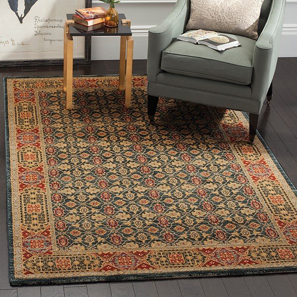 Light Blue, Red (K) Traditional / Oriental Area Rug