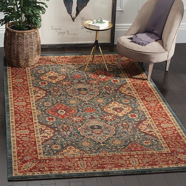 Navy, Red (C) Traditional / Oriental Area Rug
