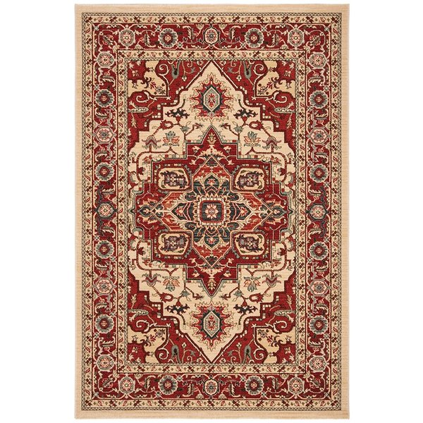 Cream, Red (C) Traditional / Oriental Area Rug