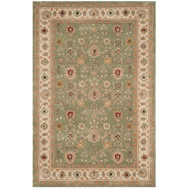 Green, Ivory (C) Traditional / Oriental Area Rug