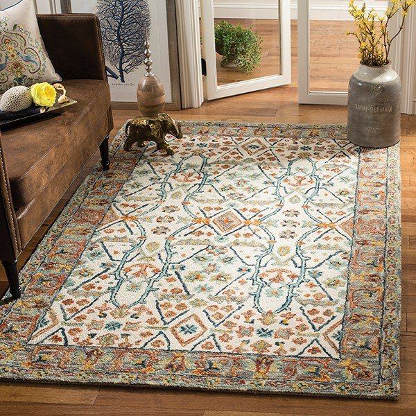 Ivory, Blue Traditional / Oriental Area-Rugs