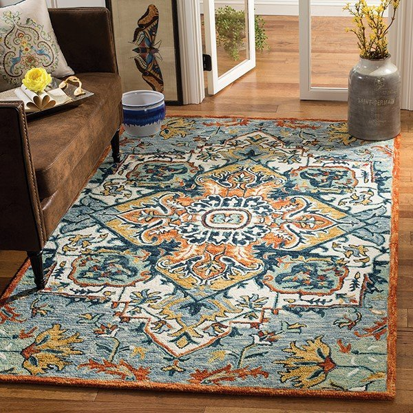 Blue, Rust Traditional / Oriental Area-Rugs