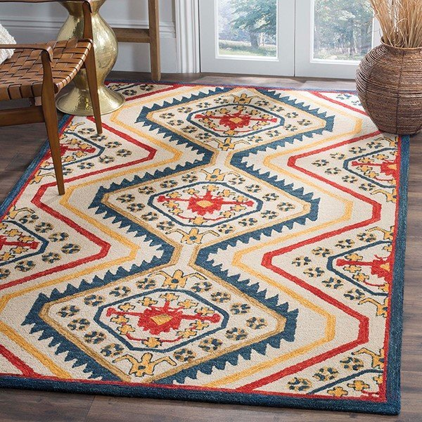 Ivory, Red, Blue Southwestern Area-Rugs