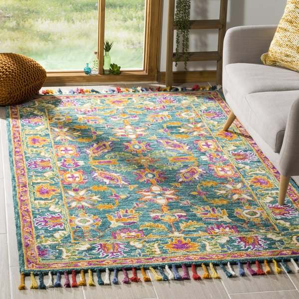 Turquoise, Purple (K) Contemporary / Modern Area-Rugs