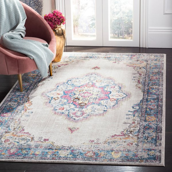 Light Grey, Blue (A) Vintage / Overdyed Area Rug