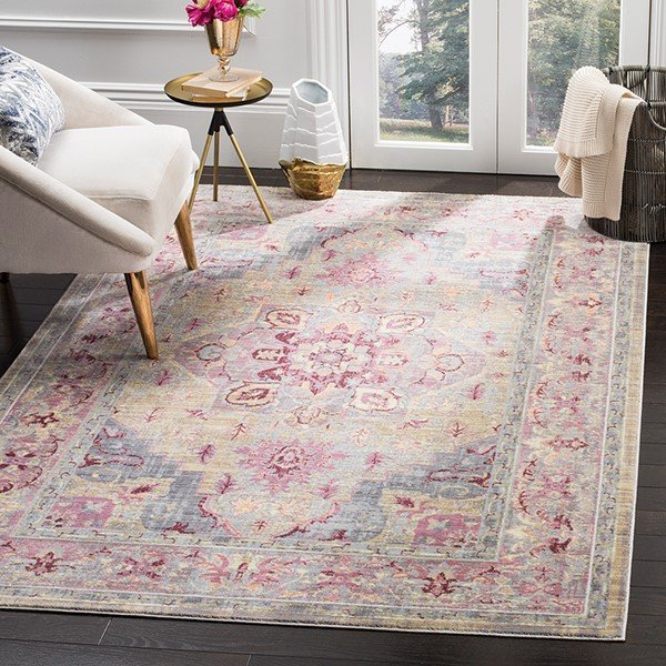 Grape, Blue (D) Vintage / Overdyed Area-Rugs