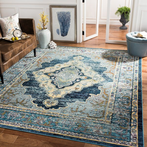 Blue, Yellow (M) Vintage / Overdyed Area-Rugs
