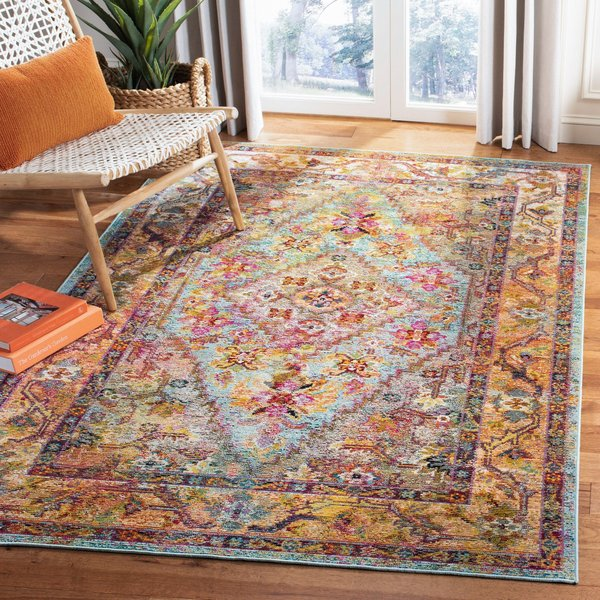 Light Blue, Orange (A) Vintage / Overdyed Area Rug