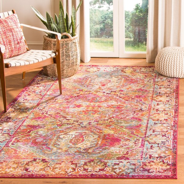 Fuchsia, Light Blue (B) Vintage / Overdyed Area Rug