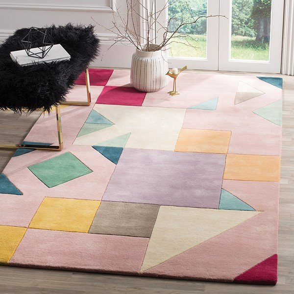 Pink, Violet, Red, Green (A) Geometric Area Rug