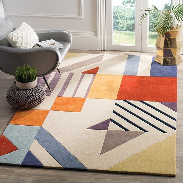 Ivory, Red, Yellow, Orange (A) Contemporary / Modern Area-Rugs