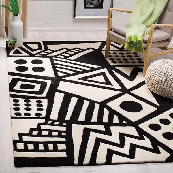 Ivory, Black (A) Contemporary / Modern Area Rug