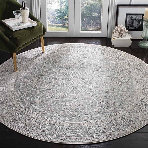 Light Grey, Cream (C) Traditional / Oriental Area Rug