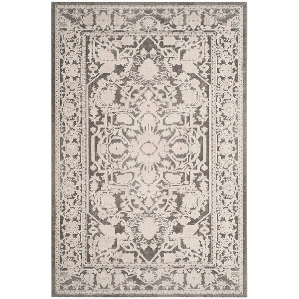 Dark Grey, Cream (B) Traditional / Oriental Area Rug