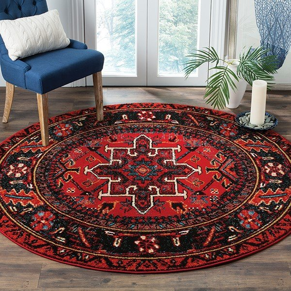 Red, Blue, Ivory (A) Traditional / Oriental Area Rug
