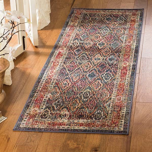 Navy, Gold (C) Traditional / Oriental Area Rug