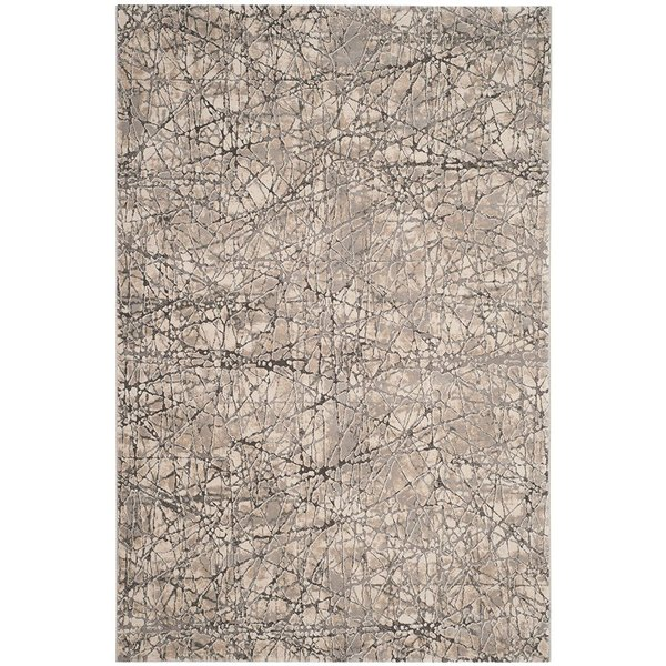 Beige, Grey (A) Abstract Area Rug