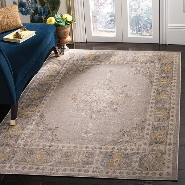 Grey, Gold (D) Vintage / Overdyed Area-Rugs