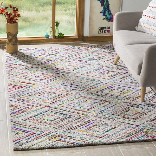 Ivory, Light Grey (A) Geometric Area Rug