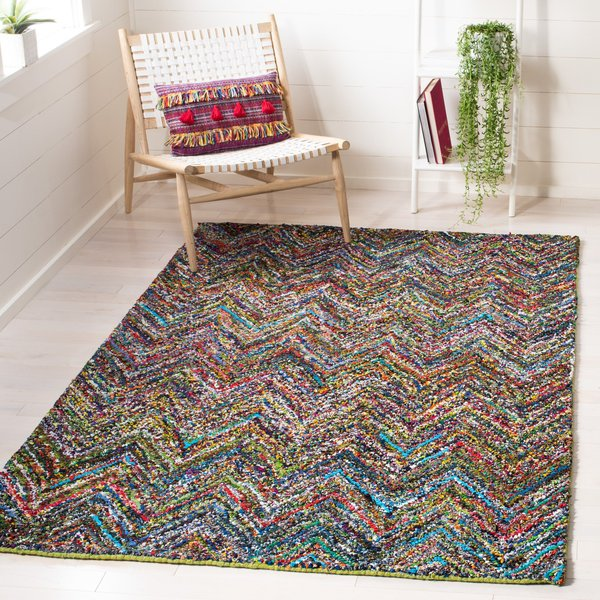 Red, Blue (B) Chevron Area Rug