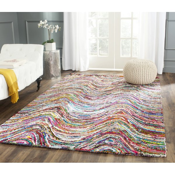 Pink, White (A) Contemporary / Modern Area Rug